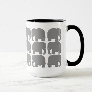 Grey Elephants Silhouette Mug