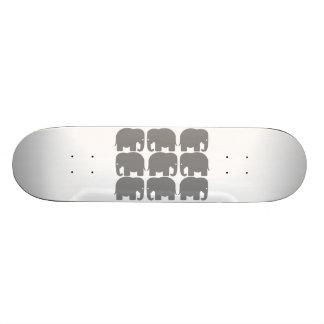 Grey Elephants Silhouette Skateboard