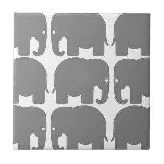 Grey Elephants Silhouette Tile