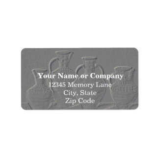 Grey Embossed Pottery Address Labels