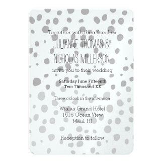 Grey Expression Ombre Dots Wedding Card