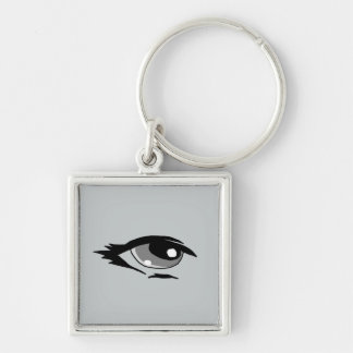 Grey eye design matching jewelry set Silver-Colored square keychain