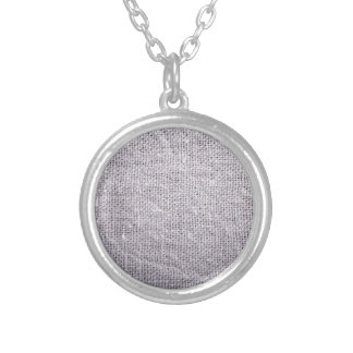 Grey fabric background burlap silver plated necklace