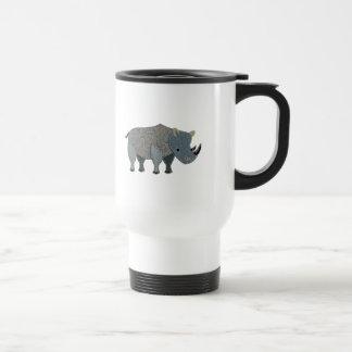 Grey Fabric Rhino Applique Travel Mug