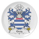 Grey Family Crest Party Plate