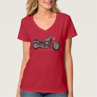Grey Fatboy Motorcycle - Fameland Graphic T-Shirts