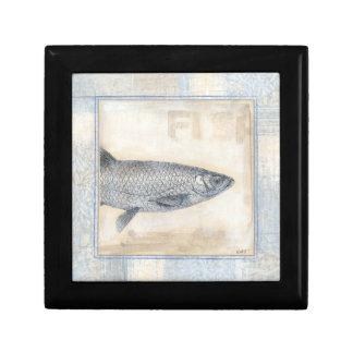 Grey Fish on Beige Background Keepsake Boxes