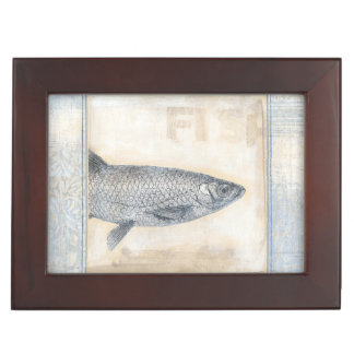 Grey Fish on Beige Background Memory Box
