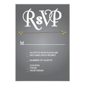 Grey Floral Ampersand RSVP Personalized Announcements