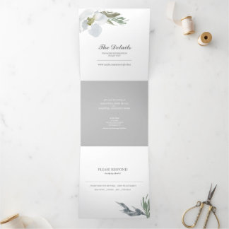 Grey Floral and Greenery All In One Wedding Invite