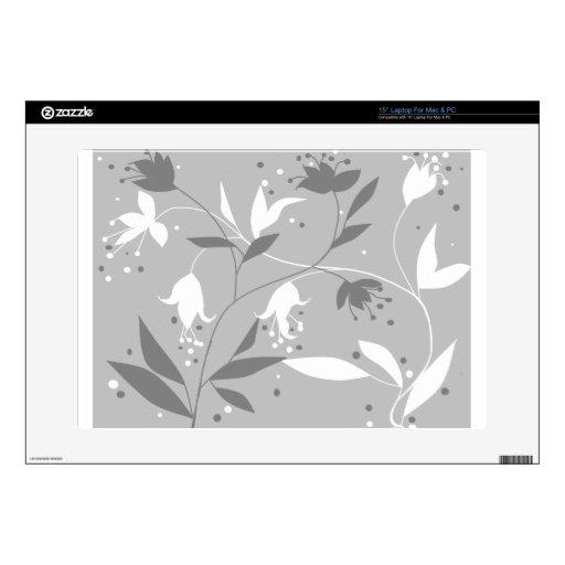 Grey floral flower customizable design mac pc skin laptop skins