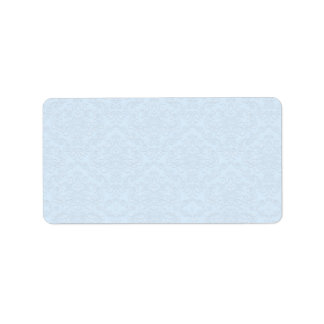 Grey floral on light blue background label