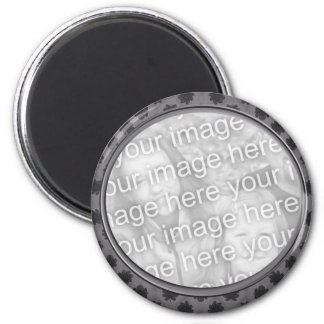 grey floral photo frame 2 inch round magnet