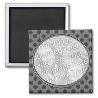 grey floral photo frame 2 inch square magnet