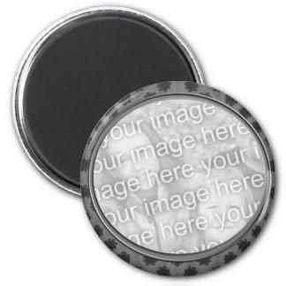 grey floral photo frame magnet