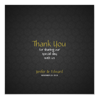 Grey Floral Texture Square Thank You Card