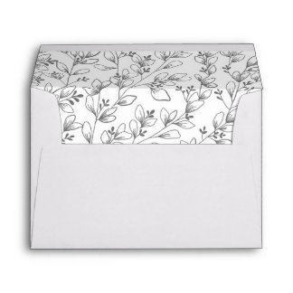 Grey Floral Wedding Envelope