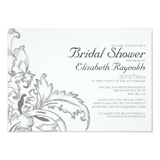Grey Flourish Bridal Shower Invitations