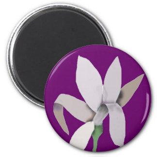 Grey Flower - Abstract Design 2 Inch Round Magnet