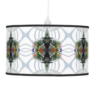 Grey Flower and Fence Fractal Hanging Lamp