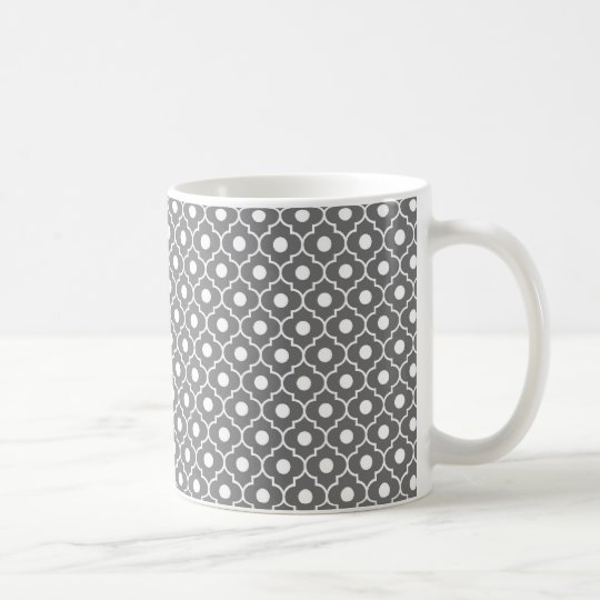 Grey Flower Argyle Pattern Coffee Mug