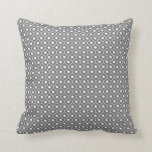 Grey Flower Argyle Pattern Cotton Pillow 1