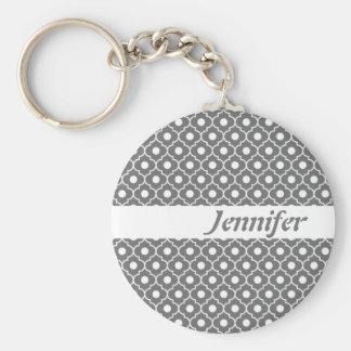 Grey Flower Argyle Pattern Keychain