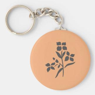 Grey Flower Bouquet on Light Peach Keychains
