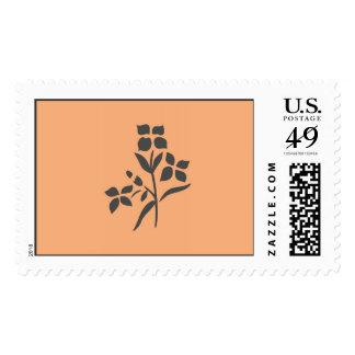 Grey Flower Bouquet on Light Peach Postage Stamp