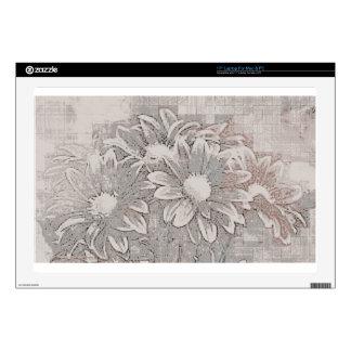 """Grey Flower - Digital Floral Art 17"""" Laptop Skins"""