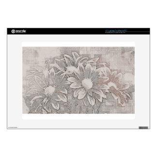 """Grey Flower - Digital Floral Art Skins For 15"""" Laptops"""