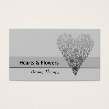 Professional Business Grey Flower Heart Trendy Custom Business Cards