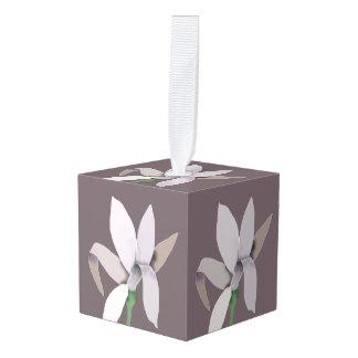 Grey Flower on Grey Cube Ornament