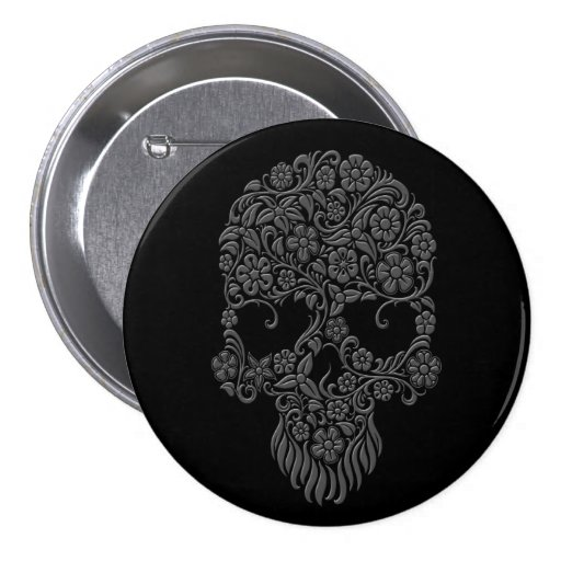 Grey Flowers and Vines Skull Design on Black 3 Inch Round Button