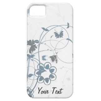 Grey Flowers Butterfly - Personalize iPhone 5 Cover
