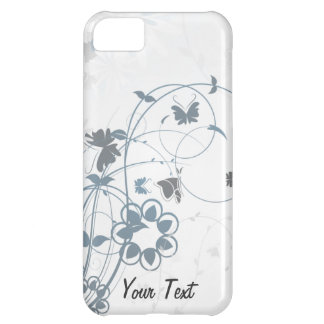 Grey Flowers Butterfly - Personalize iPhone 5C Covers