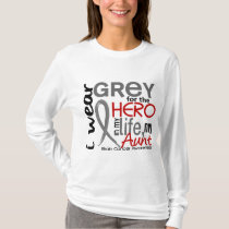 Grey For My Hero 2 Aunt Brain Cancer T-Shirt