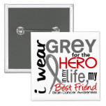 Grey For My Hero 2 Best Friend Brain Cancer Button