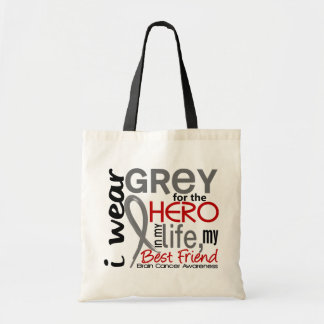 Grey For My Hero 2 Best Friend Brain Cancer Tote Bag
