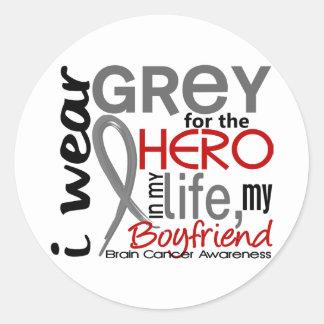 Grey For My Hero 2 Boyfriend Brain Cancer Classic Round Sticker