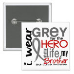 Grey For My Hero 2 Brother Brain Cancer Pin