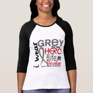 Grey For My Hero 2 Brother Brain Cancer T-Shirt