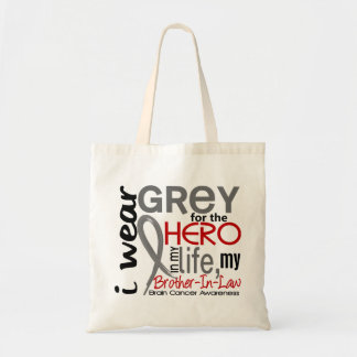 Grey For My Hero 2 Brother-In-Law Brain Cancer Tote Bag