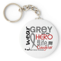 Grey For My Hero 2 Daughter Brain Cancer Keychain
