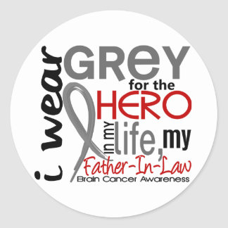Grey For My Hero 2 Father-In-Law Brain Cancer Classic Round Sticker