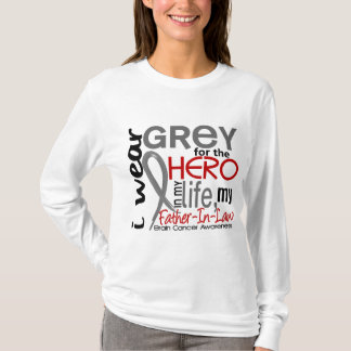 Grey For My Hero 2 Father-In-Law Brain Cancer T-Shirt