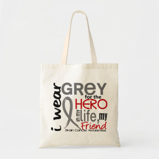 Grey For My Hero 2 Friend Brain Cancer Tote Bag
