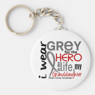 Grey For My Hero 2 Granddaughter Brain Cancer Keychain