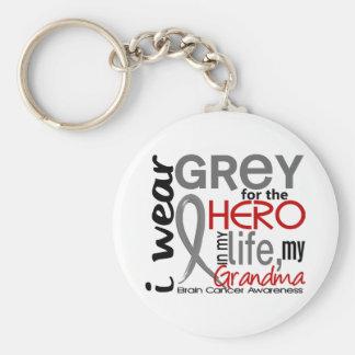Grey For My Hero 2 Grandma Brain Cancer Keychain