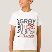 Grey For My Hero 2 Grandpa Brain Cancer T-Shirt